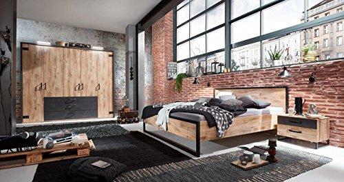 lifestyle4living Schlafzimmer Komplettset im angesagten Industrial-Design, Plankeneiche-Nachbildung mit Absetzungen in Stahloptik u. Applikationen aus Metall, 4-teilig