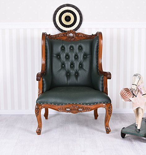 Ohrensessel Chesterfield Ohrenbacken Sessel Mahagoni Kaminsessel Leder mar105 Palazzo Exklusiv