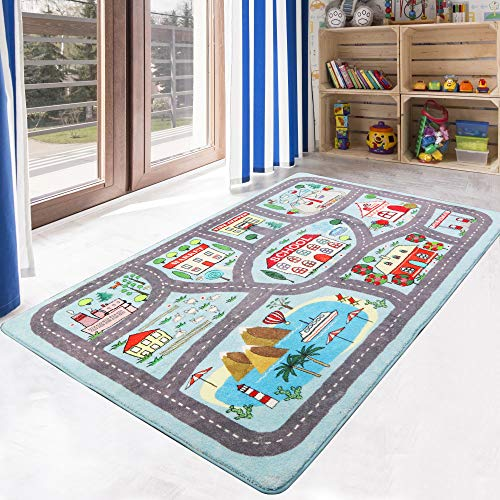 LIVEBOX Play Mat, Faux Wool Kids Road Traffic Area Rugs 3' x 5' Non-Slip Childrens Crawling Carpet Colorful Educational & Fun Throw Rug for Living Room Bedroom Playroom Nursery Decor Best Shower Gift