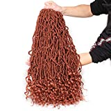 Leeven 6 Packs Pre-looped Goddess Soft Locs Crochet Braids Hair With Curly Ends 24 Inch Long Cooper Red Synthetic Wavy Curly Boho New Faux Locs Braiding Hair 350 Color Locs Hair 21 Strands/Pack