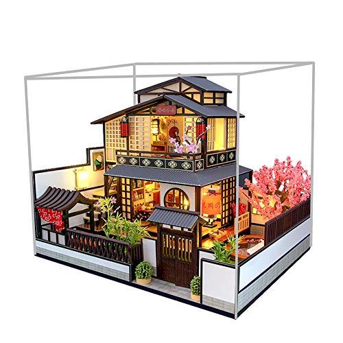 September - Miniatura de madera para casa de muñecas de estilo japonés con luz LED y cubierta contra el polvo, sala creativa para regalo de cumpleaños