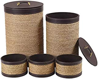 Giantex 5-Piece Bamboo Laundry Hampers Large and Round, for Shelves Clothes, Toys, Books Organizer Home Storage Basket W/Lid, Triple Handles Eco-Friendly Material Dust-Proof LaundryStorage Basket Set