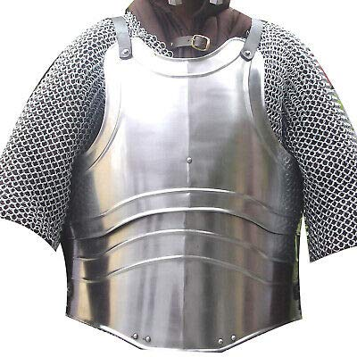 XL Medieval 18 Gauge Steel Body Armor Breast Plate Fluted Cuirass LARP vyt1