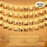 Luci Clip Foto, massway 6M 40 LED Striscia Foto Clip Luce Bianca Calda Luci LED con Foto M...