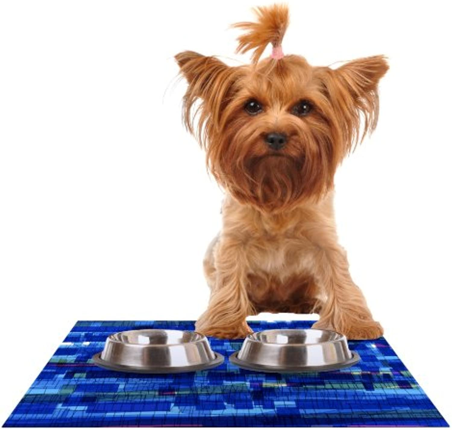 Kess InHouse Frederic LevyHadida Squares Traffic bluee Feeding Mat for Pet Bowl, 18 by 13Inch