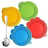 FineGood 4er Pack Silikon Haustier Dosendeckel mit Löffel, Lebensmittelqualität Silikon Haustier Dosendeckel Universal Futter Abdeckung für Hund Katze Dosenfutter - rot, blau, gelb, grün