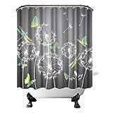 OuElegent Rustikaler Dandelion Duschvorhang mit weißen Pflanzen & gelb-grünen Ombre Schmetterling Libelle Badezimmer Dekor ländliche Natur Vorhang wasserdicht mit Haken 183 x 183 cm grau