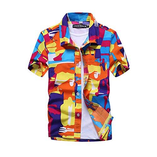OULII Hommes Occasionnels Lâche Impression à Manches Courtes Bouton Chemise Été Plage T-Shirt Tops Taille L (Orange)