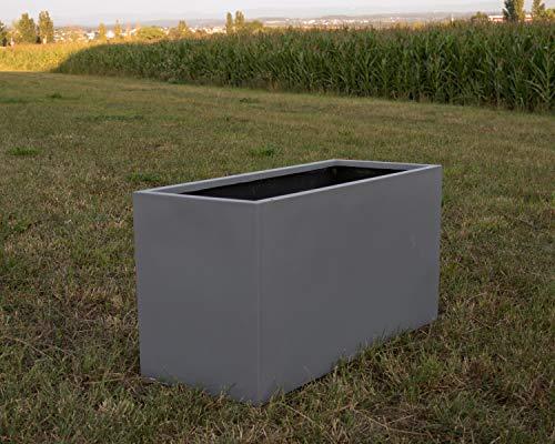 Elegant Einrichten Pflanztrog, Blumentrog Fiberglas 80x30x40cm grau