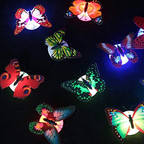 Mobestech 16pcs Colorful Flashing LED Butterfly Sticker Illuminate 3D DIY Wall Stickers Decoration Mood Light for Nursery Bedroom Festival Party (Random Color)