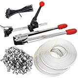 iMeshbean Complete Strapping Tool Kit with 400 PCS Metal Seals & 4 Banding Roll Supply Set 1000 FT 1/2' Poly Strap & 100 PCS Zip Ties USA