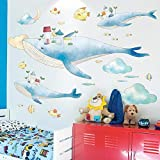 Pegatinas de dinosaurios de dibujos animados pegatinas de pared papel tapiz decorativo autoadhesivo estéreo 3d-Sky whale_Big
