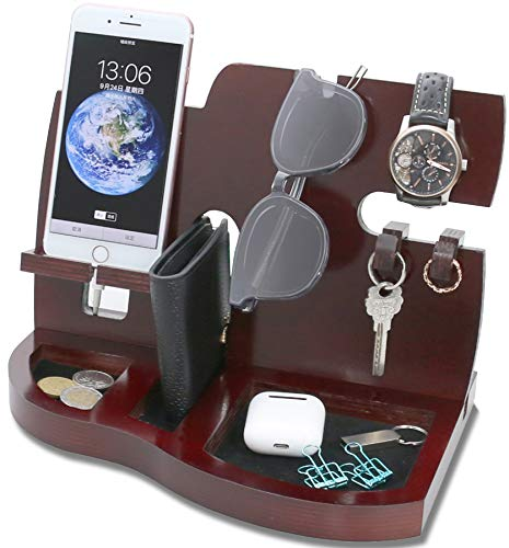 Magic show Estación de Acoplamiento del teléfono de Madera roja con el Regalo dominante del Organizador del sostenedor, de la Cartera y del Reloj de la Llave
