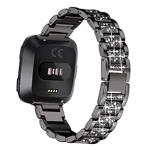 HGNZMD Women Watch Strap Compatible with Fitbit Versa 2 / Versa/Versa Lite, Replacement Straps Metal Band StainlessSteelBands Rhinestone Bracelet JewelryCompatible with Versa,Black