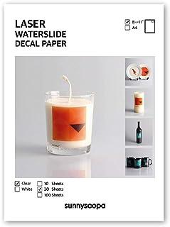 ورق ملصقات Sunnyscopa Waterslide لطابعة ليزر - شفاف، مقاس الحروف الأمريكي 8.5 بوصة × 11 بوصة، 20 ورقة، قياسي - نقل شرائح ا...