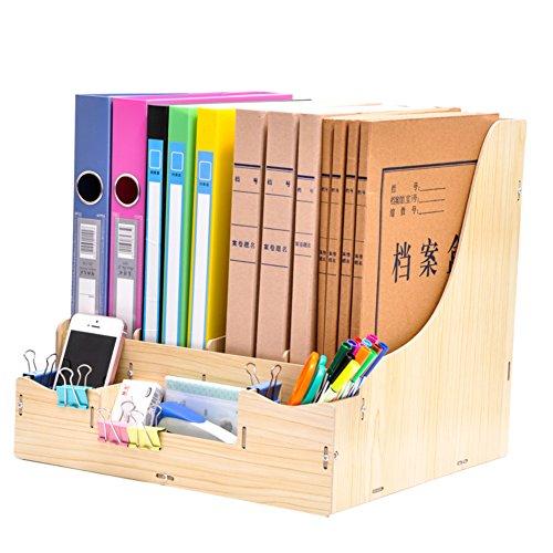 WL DIY Bücherregal aus Holz, Aktenordner und Brief-Organizer, große Kapazität, Büro-Schreibtisch-Organizer, hält Ihren Schreibtisch ordentlicher 31.5x32x31cm(12x13x12inch) C