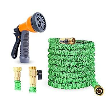 Ohuhu Expandable Garden Hose, 100 Feet Expanding Hose, 100 ft Flexible Water Hose with 3/4 Solid All Brass Fittings Connector & 8 Function High Pressure Spray Nozzle