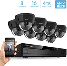Amcrest 4MP UltraHD Video Security Camera System w/ 4K 16CH PoE NVR, (8) x 4MP Dome IP PoE Cameras, Pre-Installed 4TB HDD (Supports up to 6TB) (Black)