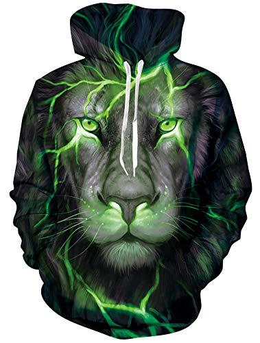 ALISISTER Sudadera con Capucha 3D Unisex Niño Niña Personalizada León Relámpago Impreso Pullover Hoodie Sweatshirt con Bolsillos Cordón M