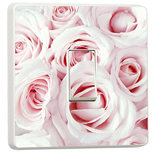 Baby Pink Roses Close Up Light Switch Sticker Floral Cover