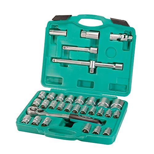 Juego de 32 vasos para llave de carraca con vasos para bujía en maletín con adaptador de 1/2