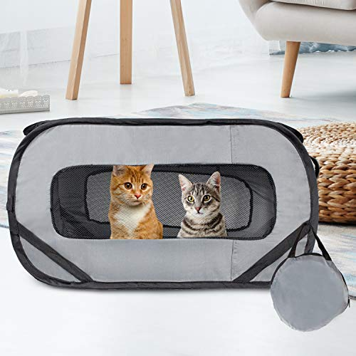 Downtown Pet Supply Foldable Travel Kennel Cat Tent Enclosure for Pets with Carry Case, Perfect as Collapsible playpen, Carrier, or Crate (Standard, Grey)