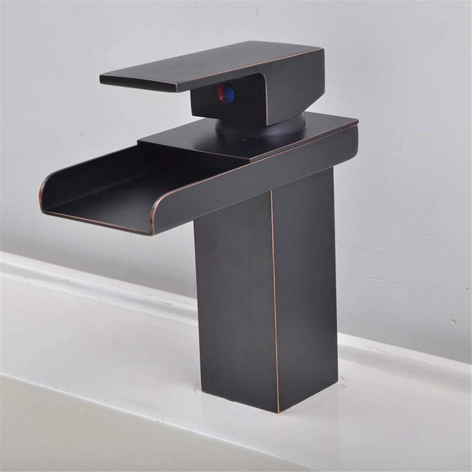 Black Waterfall Faucet Basin Faucet Old Faucet Wide Mouth Basin Faucet Bathroom Faucet Hot and Cold Water (color   -, Size   -)