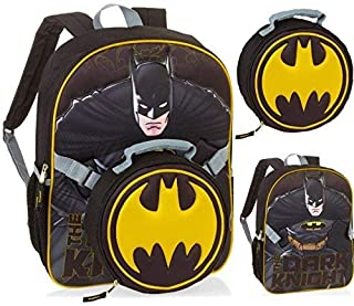 """Batman 16"""" Backpack Large Black with Removable Lunchbox Lunch Bag Kit"""