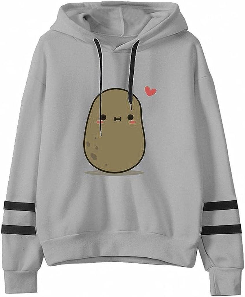 Hoodies for Women,Womens Hoodies Pullover Graphic Lightweight Fashine Graphic Cute Cartoon Potato Crewneck Pullover