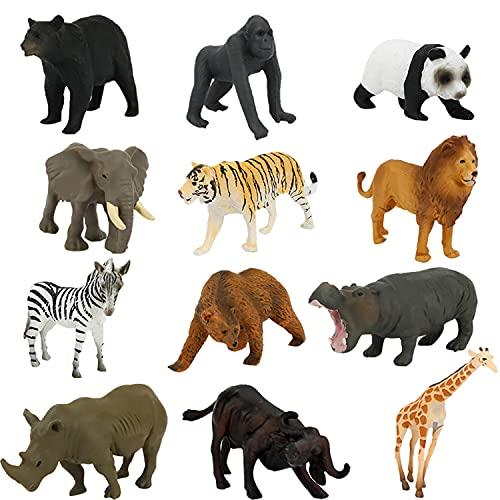 Fun Gift 12 stücke Mini Waldtier Spielzeug, Bauernhof Tiere Spielzeug tierfiguren Set, zootiere Figuren, für Kinder Zum Lernen, Party, Kuchen, für Jungen und Mädchen im Alter von 3 4 5 6+
