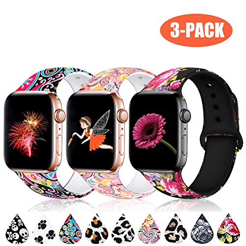 Haveda Floral Bands Compatible with Apple Watch Band 44mm 42mm, Soft Pattern Printed Silicone Sport Replacement Wristbands for Women Men Kids with iWatch Series 4 Series 3/2/1, M/L, 3 Pack