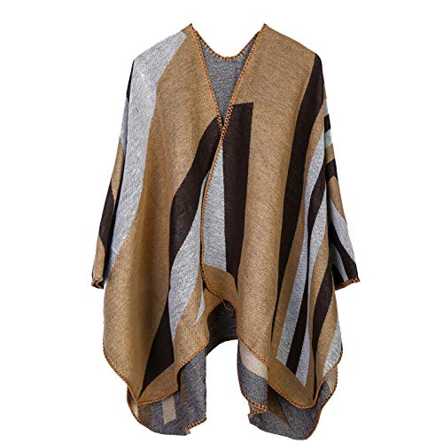 niumanery Women Open Front Poncho Cape Color Block Striped Shawl Wrap Oversize Cardigan Khaki