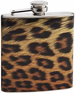 6oz Realistic Leopard Pattern Print Hip Flask, Personalized