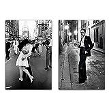 LTGBQNM Vintage Moda Lover Kiss Wall Art Cartel Nordic Blanco y Negro New York Street Paisaje Lienzo Pintura de impresión para la decoración del hogar 20x28inchx2 No Frame