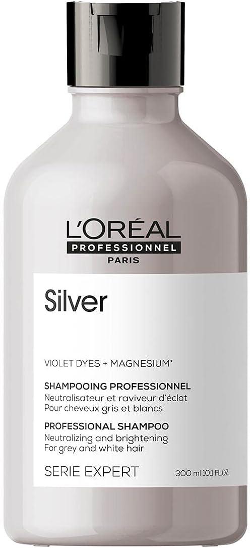 L'Oréal Professionnel   Champú Neutralizador para cabellos grises, blancos o rubios claros, Silver, SERIE EXPERT, 300mL