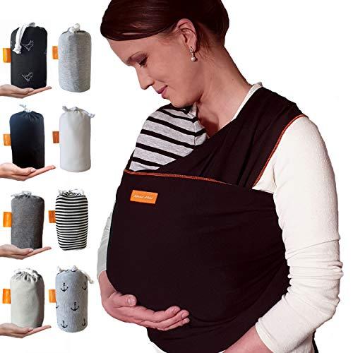 Kleiner Held® Babytragetuch - elastisches Baby Tragetuch extra lang - Babytrage für Früh- und Neugeborene Babys ab Geburt bis 18 kg inkl. Wickelanleitung und Aufbewahrungstasche I Farbe schwarz