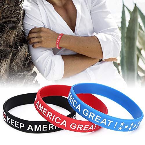 Special Letter Colorful Casual Bracelet 3pcs Patriotic Bracelet, Silicone Wristband, for Women Men