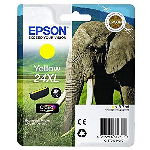 Epson Original 24XL Tinte Elefant (XP-750 XP-850 XP-950 XP-55 XP-760 XP-860 XP-960 XP-970, Amazon Dash Replenishment-fähig) gelb