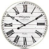 Westzytturm Large Farmhouse Wall Clock 20 Inch with Curved Glass Cover Wood Wall Clock Roman Numerals Silent Battery Operated Rustic Wooden Clocks for Walls/Living Room/Home Decor/Office(White)