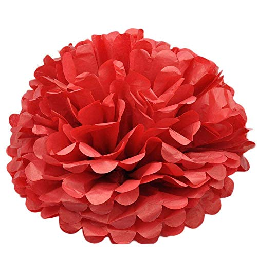 XHCP Set of 5 Pompoms Pom Pom Decorations Colourful Tissue Paper Pompoms Hanging Paper Flower Ball for Wedding Birthday Party Decoration 25 cm red