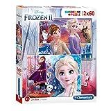 Clementoni- Supercolor Disney La Reine des Neiges 2-2x60 Enfant-boîte de 2 Puzzles (60 pièces) -fabriqué en Italie, 5 Ans et Plus, 21609, Multicolore
