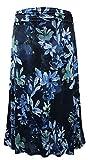 LEEBE Femmes Grande Taille - Jupe Longue Maxi Imprimé (FR 46-64) (2X (FR 50-52), Floral Bleu)