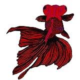 Hermosa Carpa Koi Fish Ropa Aplique Bordado Coser en Parche para Mochilas Jeans Chaquetas Ropa (Rojo con Negro)