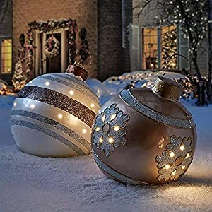 Outdoor Christmas inflatable Decorated Ball, 23.6 inch PVC Giant Christmas Inflatable Ball with Pump, Xmas Inflatable Balls Christmas Tree Decorations Yard Art Garden Home Patio Decor for Holiday (G)