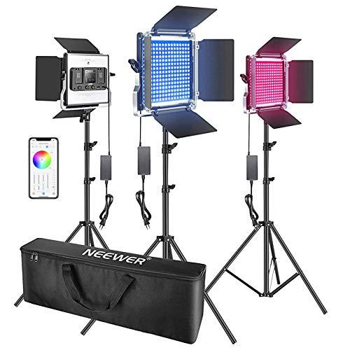 Neewer 3 Packs Luz LED RGB 480 con Control Aplicación Kit Iluminación Video y Fotografía con Soportes y Bolsa 480 LED SMD CRI92 3200K-5600K Brillo 0-100% 0-360 Colores Ajustables