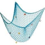 AONER 150 * 200cm Fischernetz Dekoration mit Muscheln Dekonetz zum Aufhängen Fischnetz Deko Maritime Deko Netze Hintergrund Schlafzimmer Wohnzimmer Kinderzimmer Wand Deko (Hellblau)