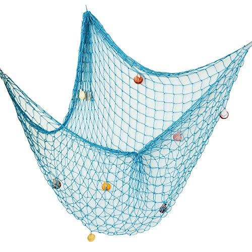 AONER (200 * 150cm) Rete da Pesca Decorativa con Conchighie Stile Mediterraneo per Decorazione Parete Casa Feste Tema Marino Nautico Mare (Ocean Blue)
