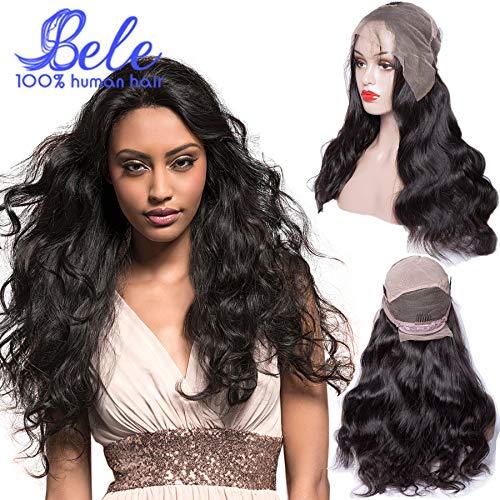 Bele Full Lace Wig Perruque de cheveux humains pré-cueillie avec des cheveux de bébé Brésiliens Vierge Vague de Corps Perruques de Cheveux Humains Full Lace Wig 180% Densité 14 pouces