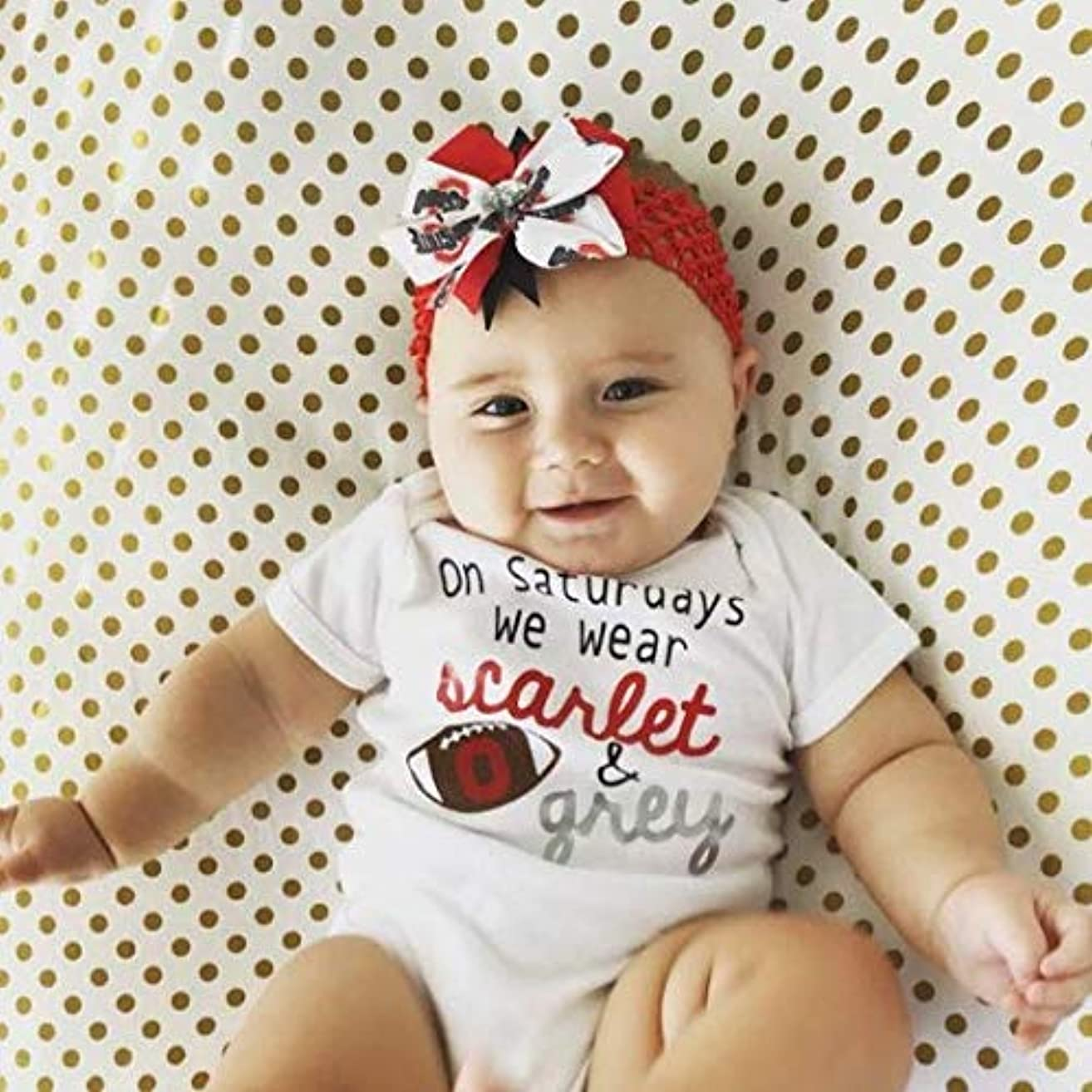 Ohio State Baby Girl Boutique Bow Crocheted Headband