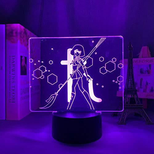 3D Illusion Lampa Mood Led Nattlampa Anime Sailor Moon För sovrumsdekoration Födelsedag Manga Gadget Säng-med fjärrkontroll
